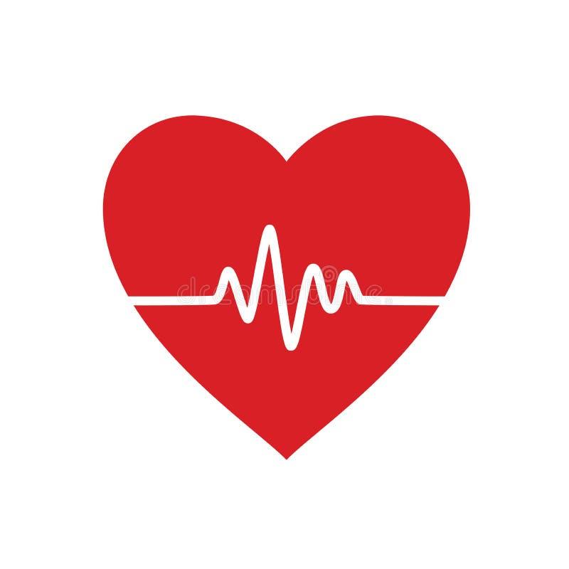 Línea del latido del corazón en corazón Ilustraci?n del vector En el fondo blanco ilustración del vector
