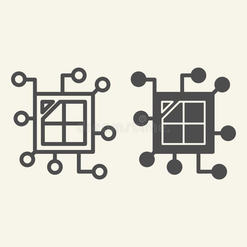 Línea del microprocesador de la CPU e icono del glyph Ejemplo del vector del procesador aislado en blanco Diseño del estilo del e libre illustration