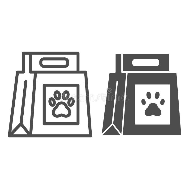 Línea del paquete de la comida de perro e icono del glyph Comida de perro con el ejemplo del vector de la marca de la pata aislad libre illustration
