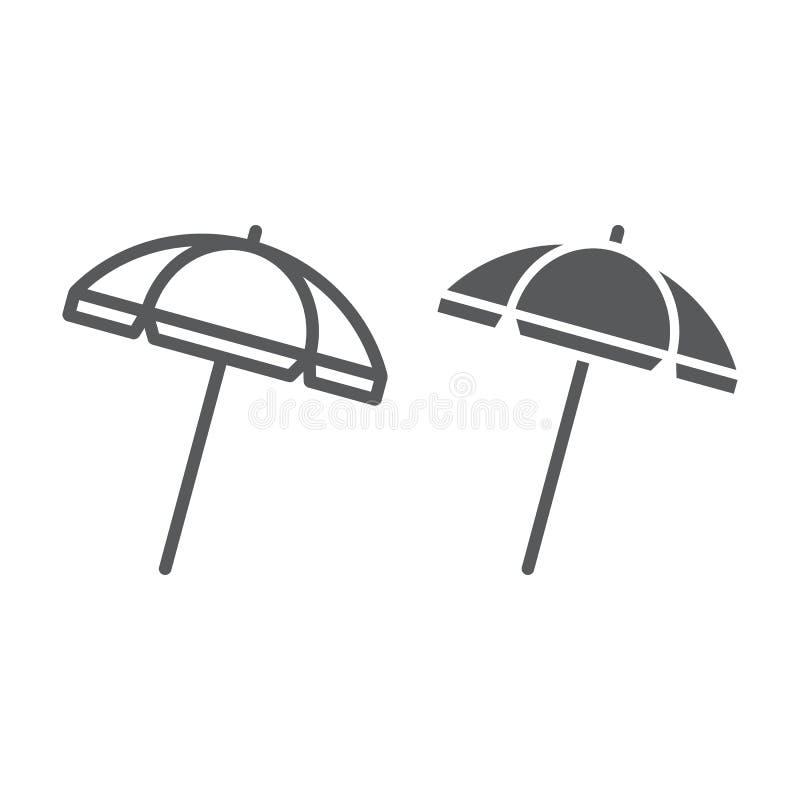 Línea del parasol de playa e icono del glyph, viaje y parasol, gráficos de vector de la muestra del paraguas de sol, un modelo li stock de ilustración
