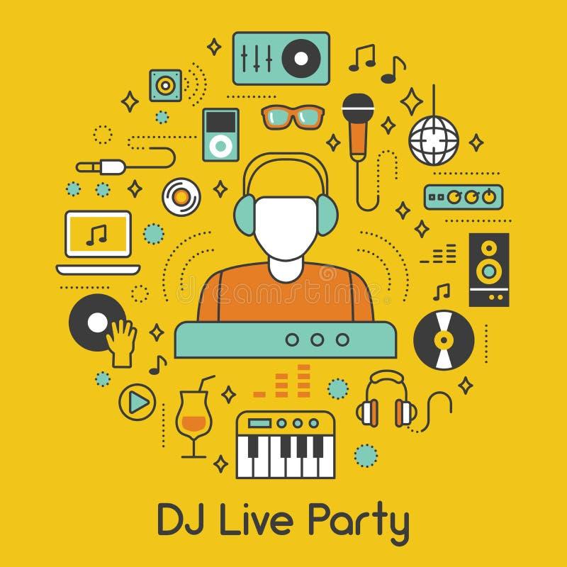 Línea del partido Art Thin Icons Set de la música de DJ con los instrumentos musicales ilustración del vector