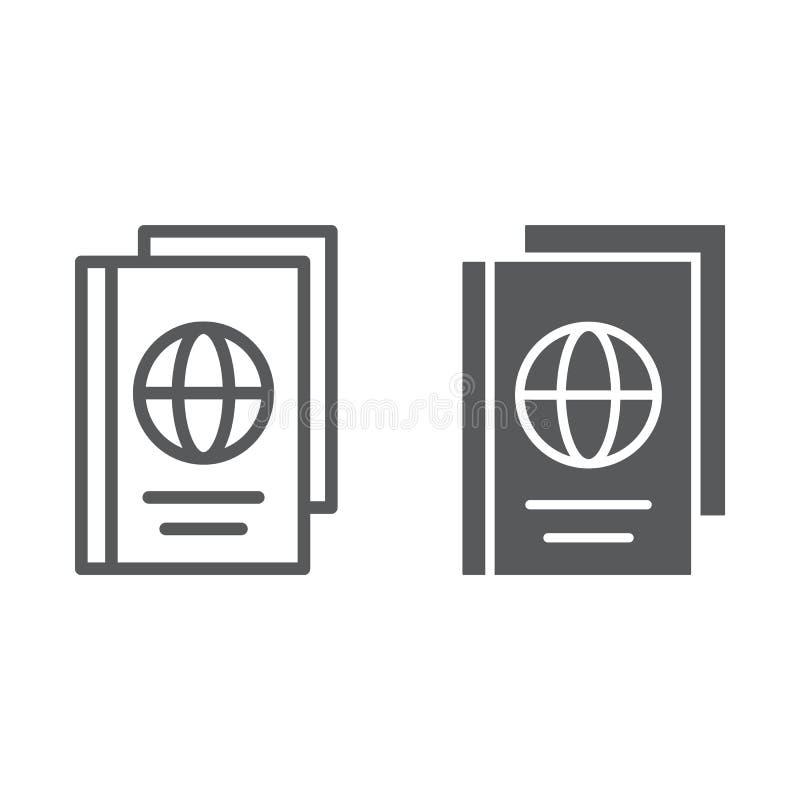Línea del pasaporte e icono del glyph, documento y viaje, muestra de la identificación, gráficos de vector, un modelo linear libre illustration
