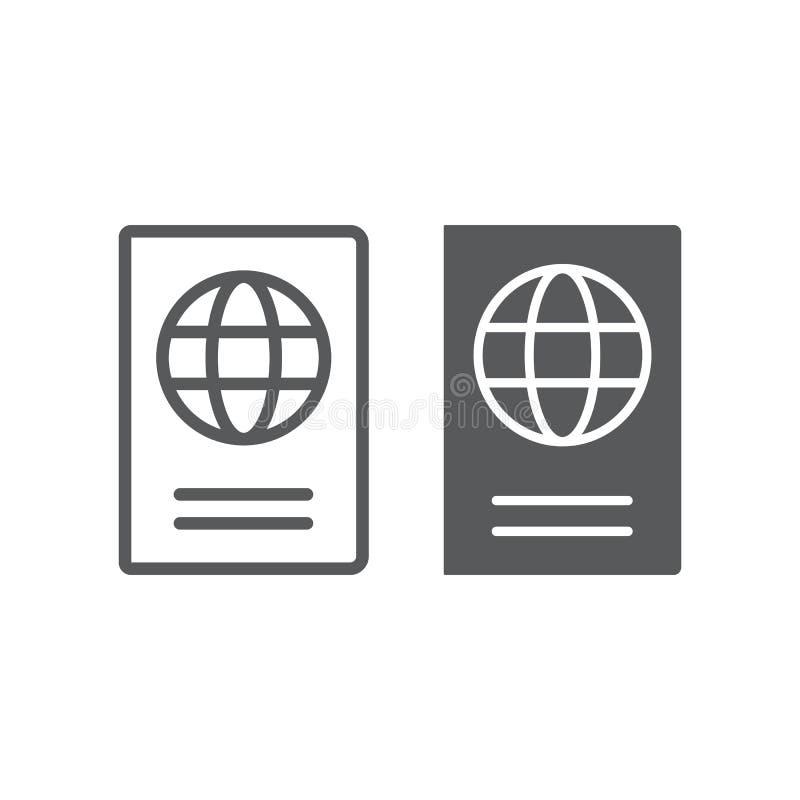 Línea del pasaporte e icono del glyph, viaje y turismo, gráficos de vector de la muestra de la identidad, un modelo linear en un  libre illustration