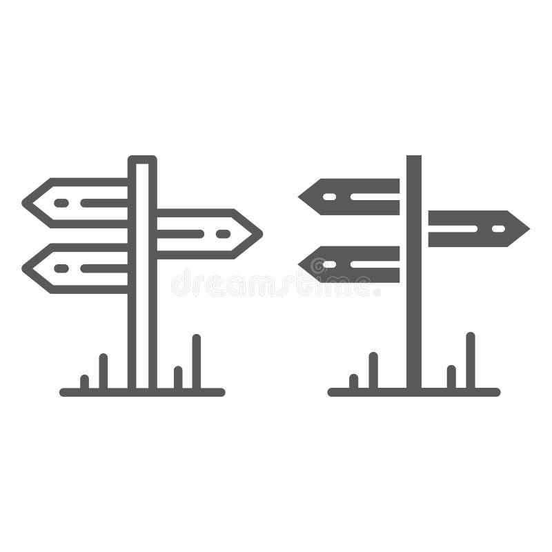 Línea del poste indicador e icono del glyph, viaje y turismo, gráficos de vector de la muestra del poste indicador, un modelo lin ilustración del vector