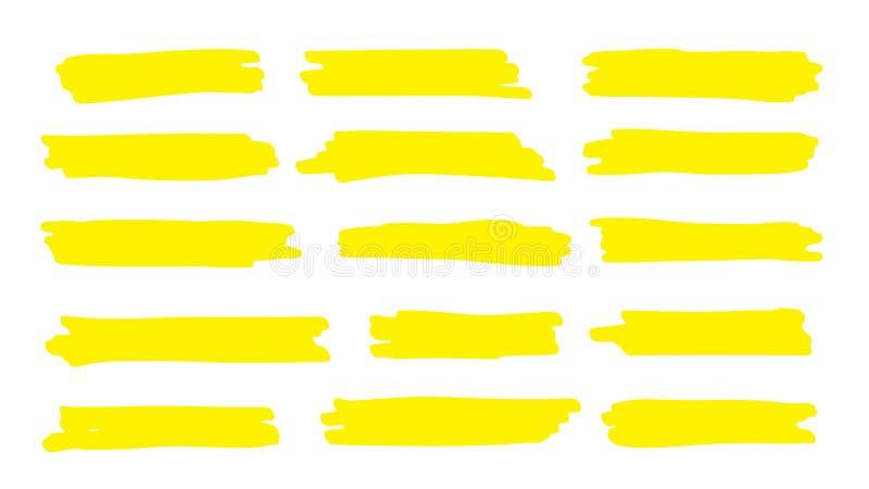 Línea del punto culminante Movimiento del color del marcador, mano de la pluma del cepillo dibujada para subrayar Línea amarill stock de ilustración