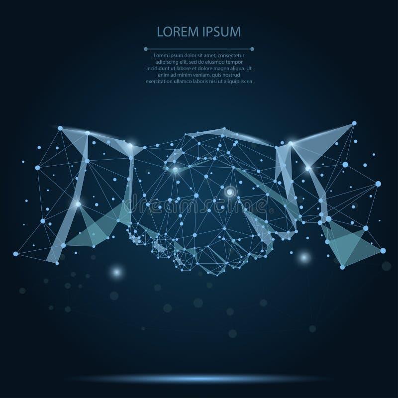 Línea del puré y concepto abstractos del negocio del apretón de manos del acuerdo del punto en el cielo nocturno azul marino con  ilustración del vector