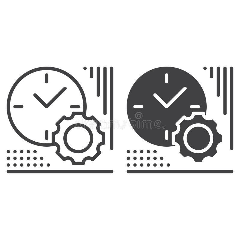 Línea del reloj y del engranaje e icono sólido, esquema y pictograma llenado de la muestra del vector, linear y lleno aislados en libre illustration