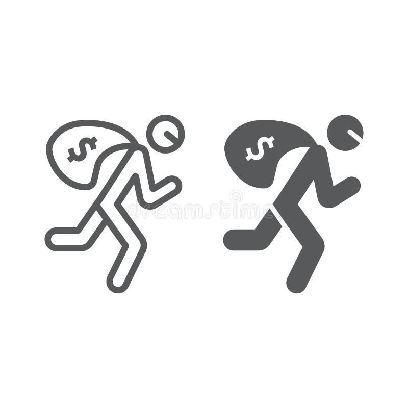 Línea del robo e icono del glyph, crimen y robo, ladrón con la muestra del bolso del dinero, gráficos de vector, un modelo linear libre illustration
