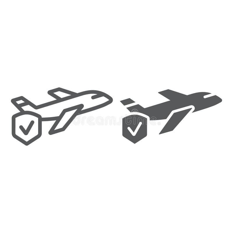 Línea del seguro del viaje e icono del glyph, viaje y seguridad, escudo y muestra plana, gráficos de vector, un modelo linear en  ilustración del vector