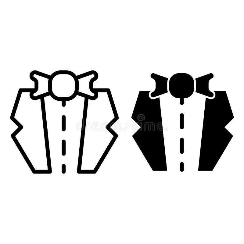 Línea del smoking e icono del glyph Casandose el ejemplo del vector del traje aislado en blanco Diseño del estilo del esquema de  libre illustration