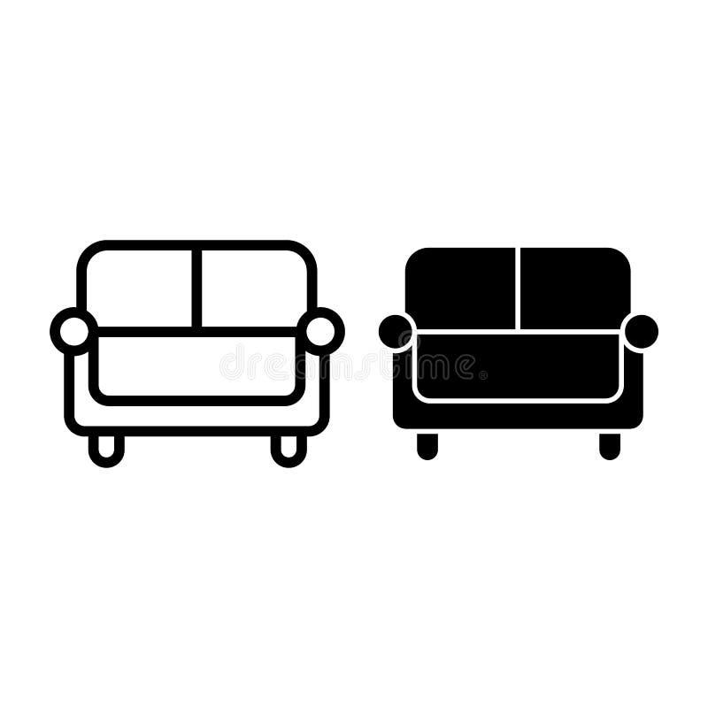 Línea del sofá e icono del glyph Ejemplo del vector del sofá aislado en blanco Diseño del estilo del esquema del diván, diseñado  ilustración del vector