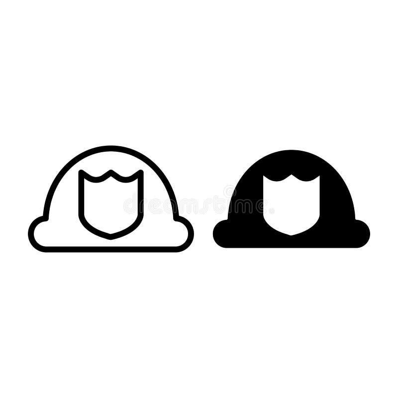 Línea del sombrero del bombero e icono del glyph Ejemplo del vector del casco del bombero aislado en blanco Diseño uniforme del e stock de ilustración