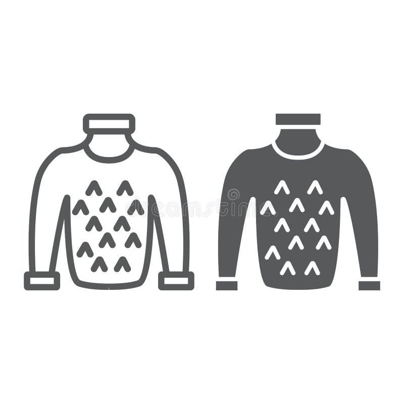 Línea del suéter e icono del glyph, ropa y caliente, muestra del puente, gráficos de vector, un modelo linear en un fondo blanco stock de ilustración