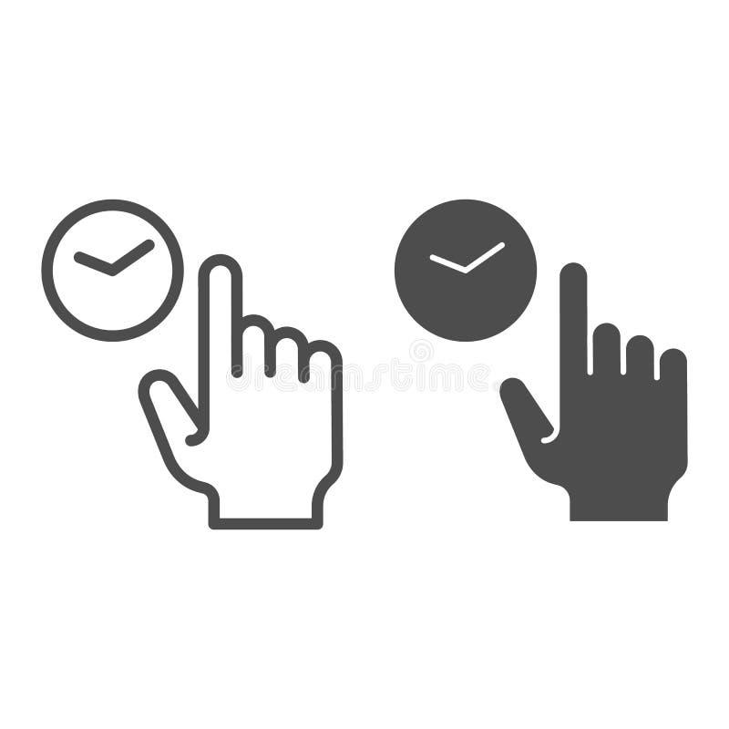 Línea del tecleo del control e icono del glyph Ejemplo del vector del tacto y del control aislado en blanco Diseño del estilo del stock de ilustración