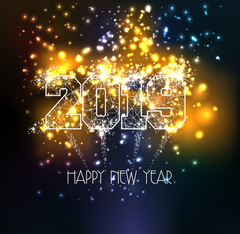 Línea 2019 del triángulo de la Feliz Año Nuevo tipo en efectos luminosos mágicos coloridos de los fuegos artificiales ilustración del vector