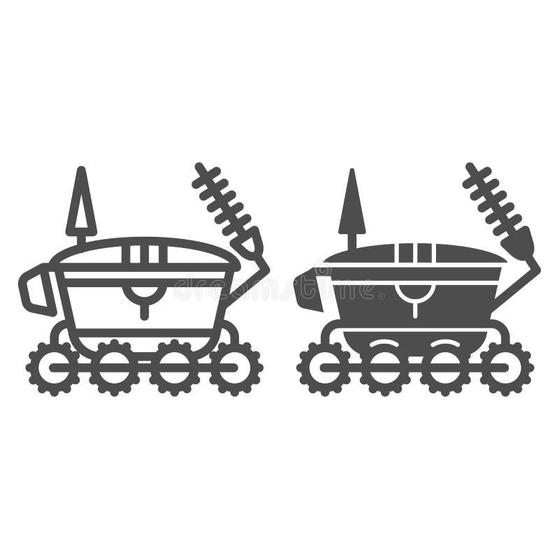 Línea del vagabundo de la luna e icono del glyph Ejemplo del vector de la astronomía aislado en blanco Diseño del estilo del esqu ilustración del vector