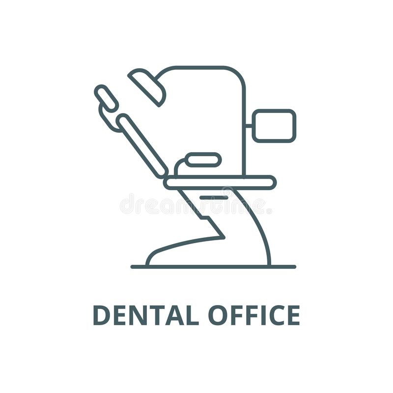 Línea dental icono, concepto linear, muestra del esquema, símbolo del vector de la oficina ilustración del vector
