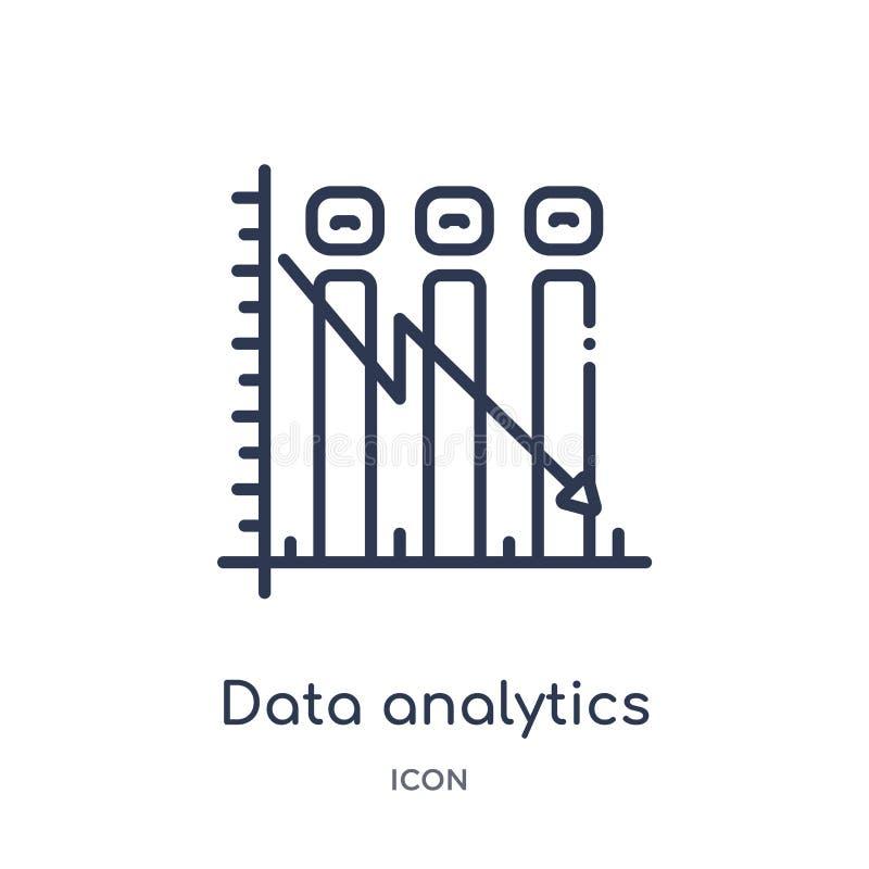 Línea descendente icono gráfico del analytics linear de los datos de la colección del esquema del negocio Línea fina línea descen stock de ilustración