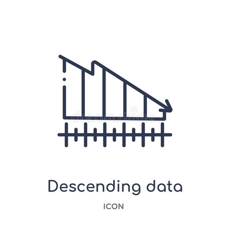 Línea descendente linear icono del analytics de los datos del gráfico de la colección del esquema del negocio Línea fina línea de ilustración del vector