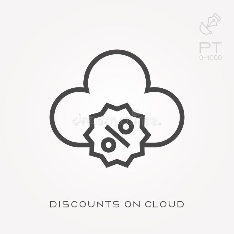 Línea descuentos del icono en la nube ilustración del vector