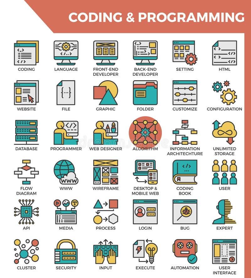 Línea detallada iconos de la codificación y del concepto de programación ilustración del vector