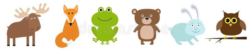 L?nea determinada animal del bosque Icono de la rana del b?ho de los alces del zorro del conejo de las liebres del oso Embroma ta libre illustration