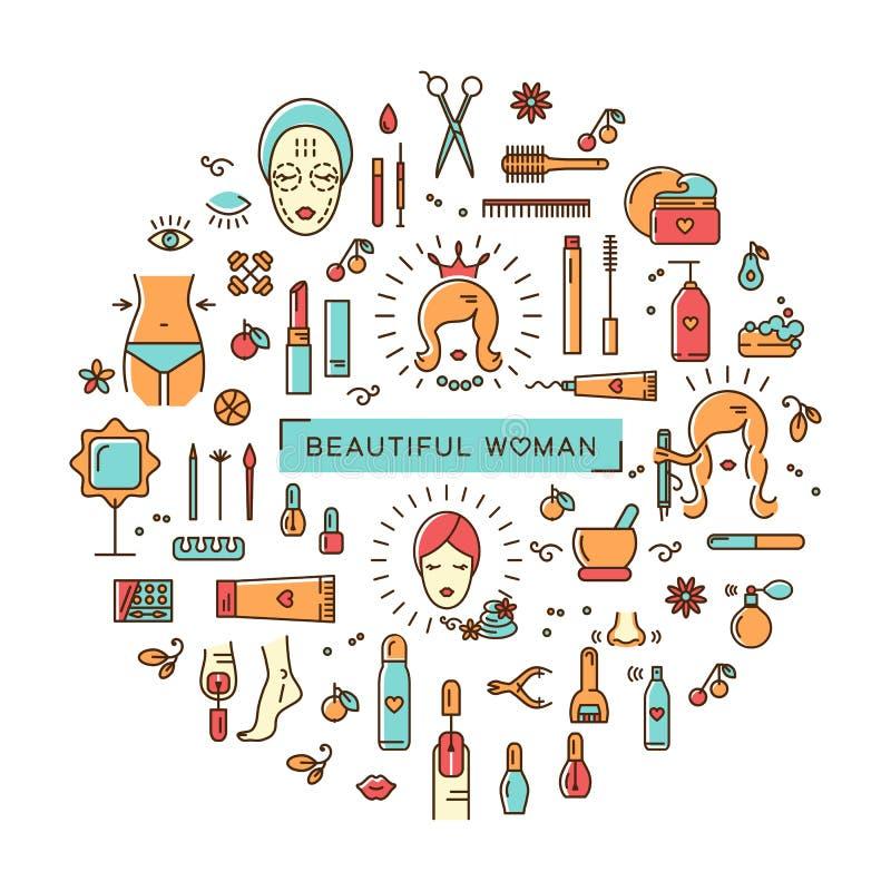Línea determinada balneario hermoso de la belleza del cosmético del vector de la mujer del arte de los iconos libre illustration