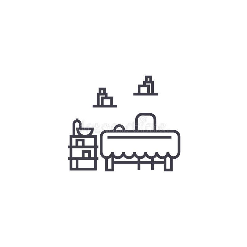 Línea determinada icono, muestra, ejemplo del vector de los muebles en el fondo, movimientos editable stock de ilustración