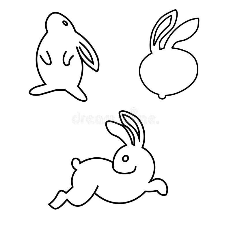 Línea determinada linda conejito de pascua Ejemplo aislado en fondo libre illustration