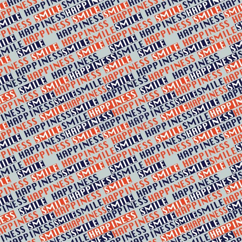 Línea diagonal vector inconsútil del error tipográfico del modelo en de la sonrisa de la fraseología el diseño postitive del humo stock de ilustración