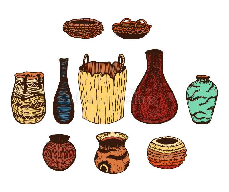 Línea dibujada mano étnica sistema coloreado del vector de cookware wattled tinta stock de ilustración
