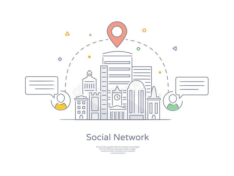 Línea dibujada mano superior icono y concepto de la calidad fijados: Red social de la ciudad, paisaje urbano, grupo de gente de c stock de ilustración