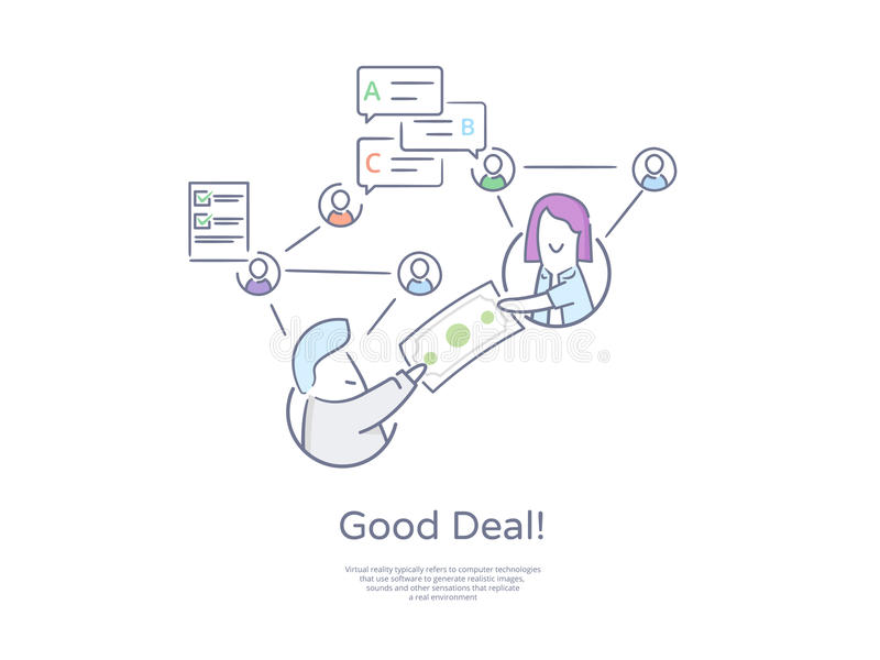 Línea dibujada mano superior icono y concepto de la calidad fijados: Trato de la adquisición de negocio Redes sociales, Teamowork ilustración del vector