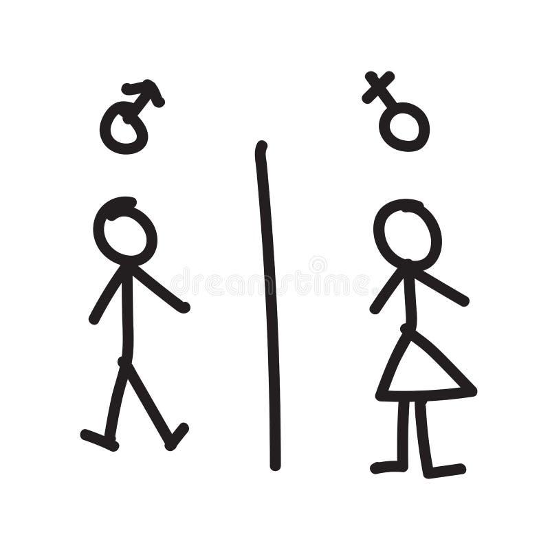 Línea Dibujo De La Mano Del Hombre Y De La Mujer