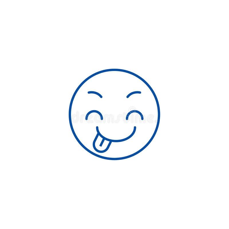 Línea difícil concepto del emoji del icono Símbolo plano del vector del emoji difícil, muestra, ejemplo del esquema libre illustration