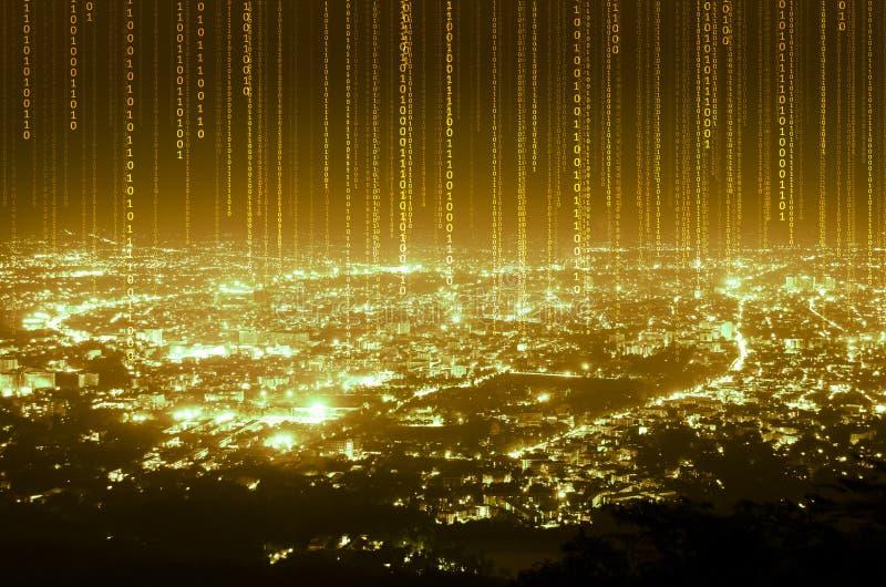 Línea digital conexión de los datos abstractos en fondo de la ciudad de la noche, foto de archivo