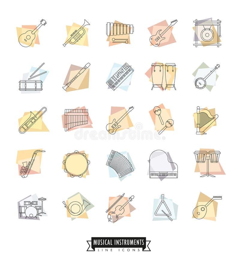 Línea diseñada retra iconos de los instrumentos musicales fijados libre illustration