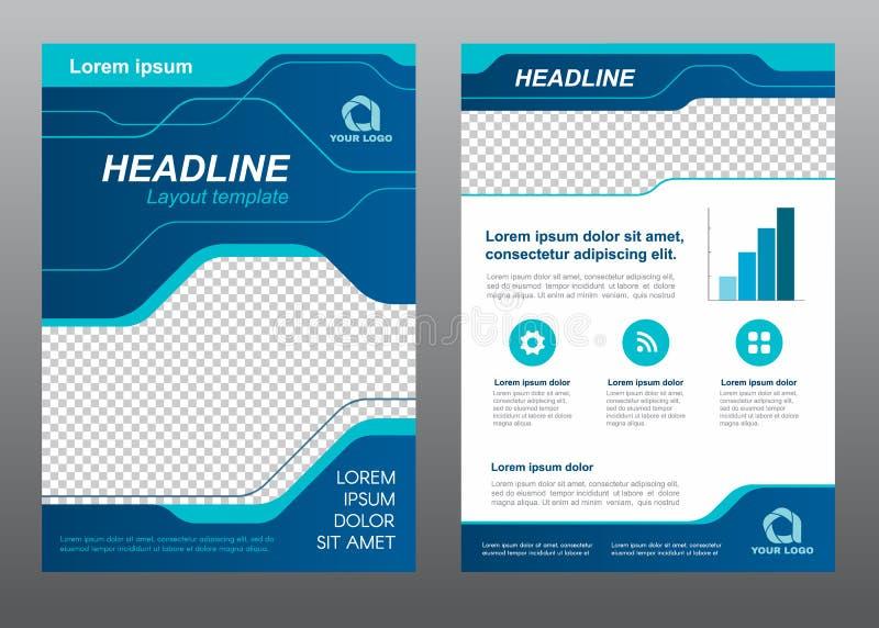 Línea diseño de azul de la página de cubierta del tamaño A4 de la plantilla del aviador de la disposición del vector del arte stock de ilustración