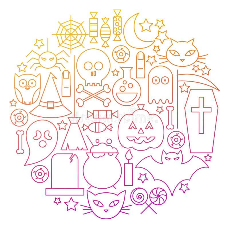 Línea diseño de Halloween del círculo del icono ilustración del vector