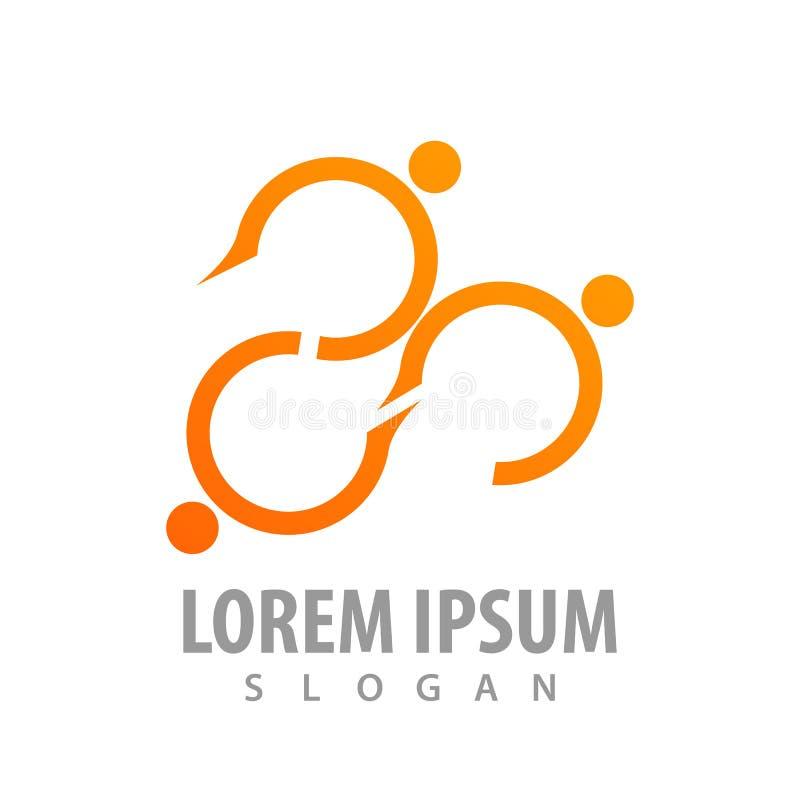 Línea diseño de la curva de concepto del logotipo de la gente Vector gráfico del elemento de la plantilla del símbolo stock de ilustración