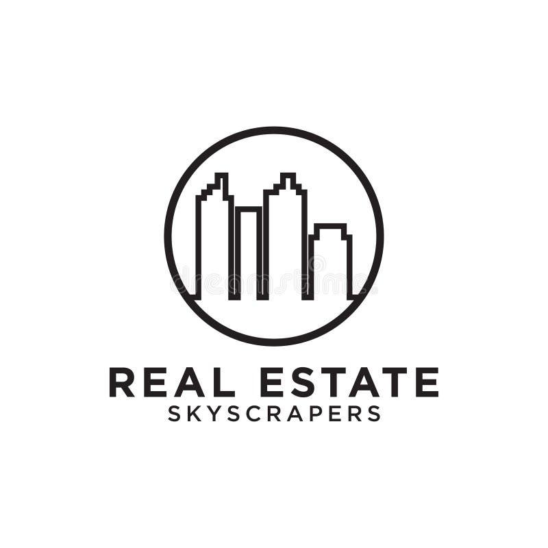 Línea diseño de los rascacielos del edificio de las propiedades inmobiliarias mono del logotipo libre illustration