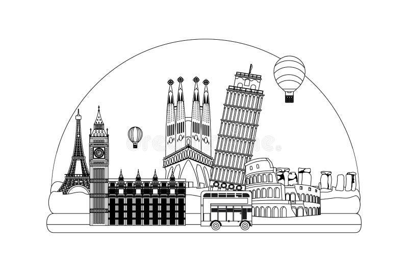 Línea diseño de torres medieval de la arquitectura de los países libre illustration