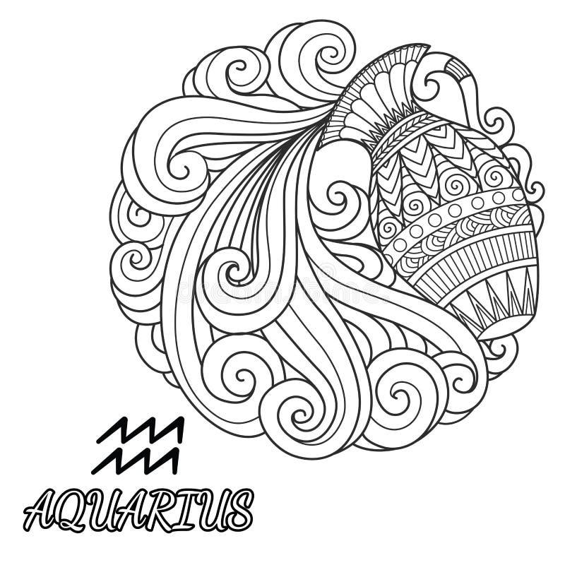 Línea Diseño Del Arte De La Muestra Del Zodiaco Del Acuario Para El ...