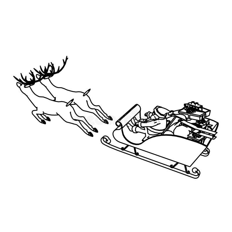 Línea diseño del arte del trineo de la Navidad ilustración del vector