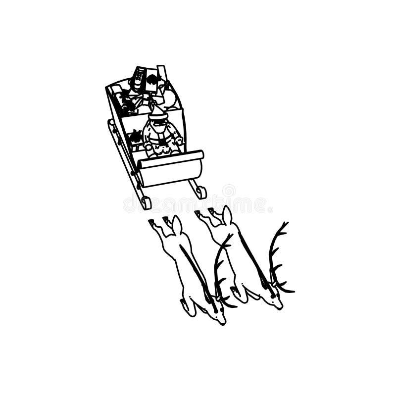 Línea diseño del arte del trineo de la Navidad stock de ilustración