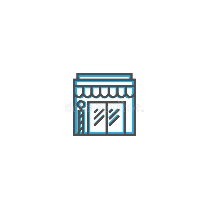 Línea diseño del icono de la peluquería de caballeros Ejemplo del vector del icono del negocio libre illustration