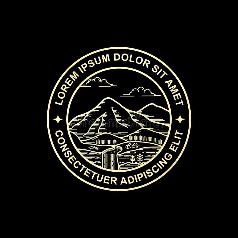 Línea diseño del logotipo de la montaña del estilo del arte libre illustration