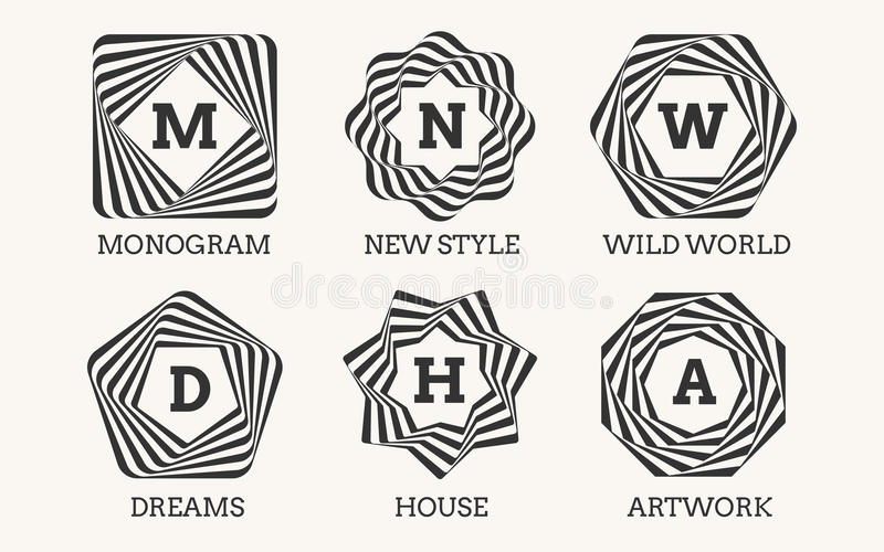 Línea diseño o monograma del logotipo del arte ilustración del vector