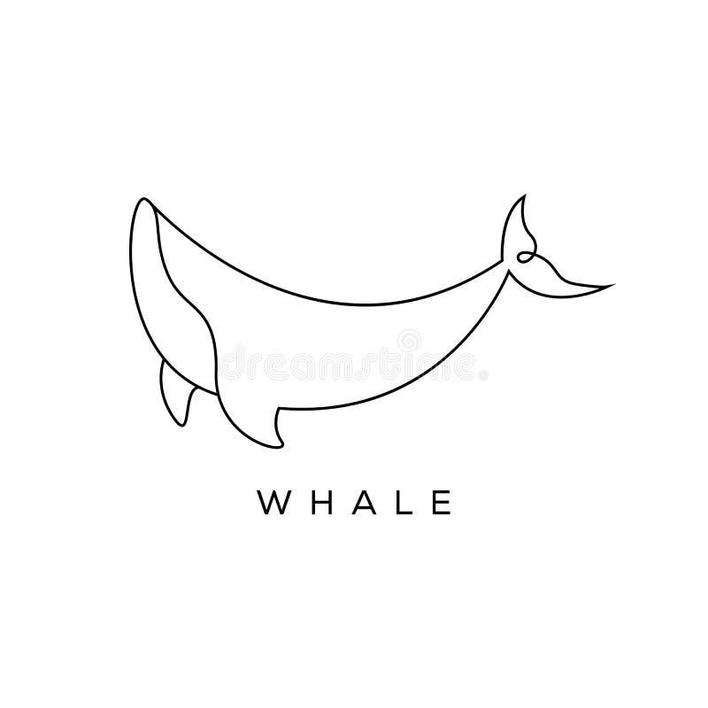 Línea diseños del logotipo del arte, mono línea, estilo de la ballena del concepto del esquema ejemplo moderno del vector de la b libre illustration