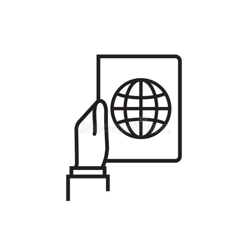 Línea disponible icono del pasaporte ilustración del vector